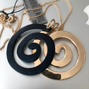 Robert Lee Morris Jewelry - Rose gold Blk Double Swirl Pendant necklace